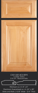 Cope and Stick Cabinet Door C101 OE1-IE3-RP11 in Alder, Select and 5-piece drawer front with reduced rails