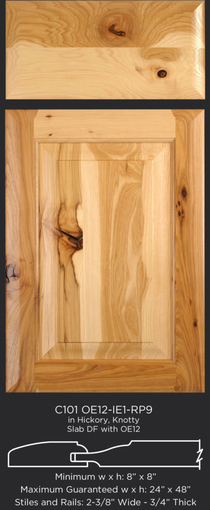 Cope and Stick Cabinet Door C101 OE12-IE1-RP9 Hickory, Knotty and slab drawer front with OE12