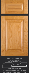 "1"" Thick Cope and Stick Cabinet Door C101 OE2-IE52-RP51 in Alder, Select and 5-piece drawer front with reduced rails"