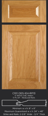 Cope and Stick Cabinet Door C101 OE5-IE4-RP13 White Oak, Select and 5-piece drawer front with reduced rails