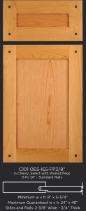Cope and Stick Cabinet Door C101 OE5-IE5-FP3/8 in Cherry, Select with walnut pegs and 5 piece drawer front