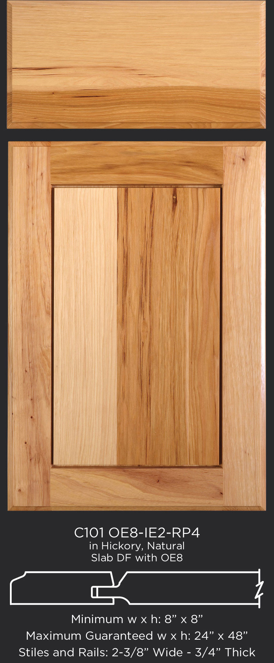 Cope And Stick Cabinet Door C101 Oe8 Ie2 Rp4 Hickory Natural Slab