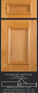 Cope and Stick Cabinet Door C101 Wide OE4-AIM2-FP3/8 in Alder, Select - 5 piece drawer front with reduced rails