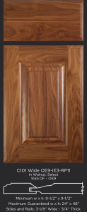 Cope and Stick Cabinet Door C101 Wide OE9-IE3-RP11 in Walnut, Select - Slab drawer front with OE9