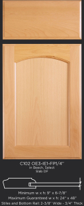 Cope and Stick Cabinet Door C102-OE3-IE1-FP1/4 in Beech, Select and slab drawer front with OE3