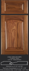 Cope and Stick Cabinet Door C102 OE9-IE3-RP11 in Walnut, Select and 5pc drawer front with reduced rails