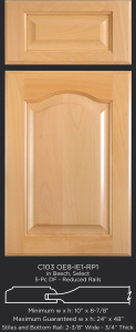 Cope and Stick Cabinet Door C103-OE8-IE1-RP1 in Beech, Select and 5 piece drawer front with reduced rails