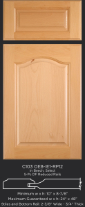 Cope and Stick Cabinet Door C103 OE8-IE1-RP12 in Beech, Select and 5 piece drawer front with reduced rails