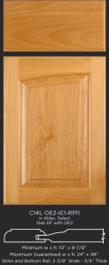 Cope and Stick Cabinet Door C14L OE2-IE1-RP11 in Alder, Select and Slab Drawer Front with OE2