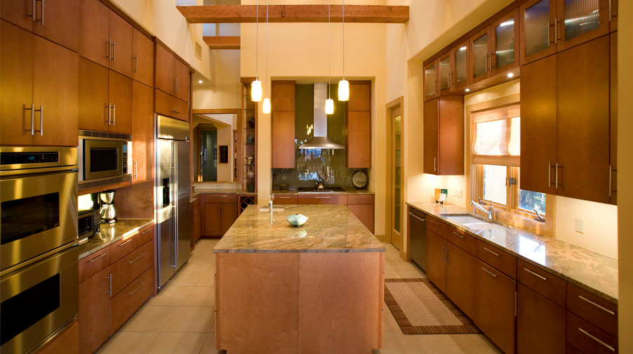 ... Modern Kitchen With Maple Veneers And Wood Beams