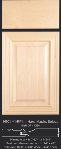 Mitered Cabinet Door M101 M1-RP1 in Hard Maple, Select and slab drawer front with OE4
