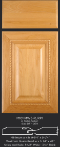 Mitered cabinet door with rope molding M101 MW5-R-RP1 in Alder, Select and slab drawer front with OE9