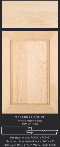 Mitered Cabinet Door M101 M15-FP3/8 VG Hard Maple, Select and slab drawer front with OE5