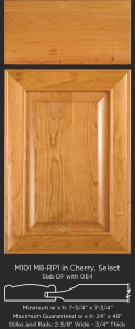 Mitered Cabinet Door M101 M8-RP1 in Cherry, Select and slab drawer front with OE4