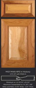 Mitered Cabinet Door M101 MW6-RP3 in Hickory, Natural 5-piece drawer front with MW6-D