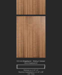 1.5mm edgebanded door and drawer front- walnut veneer