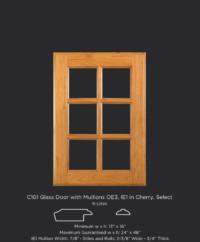 C101 Glass door with 6 lites, OE3, IE1 in Cherry, Select
