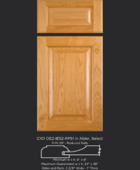 "1"" Thick Cope and Stick Cabinet Door C101 OE2-IE52-RP51 in Alder, Select and 5-piece drawer front"