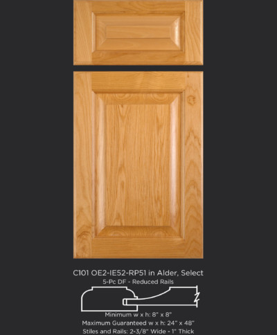 """1"""" Thick Cope and Stick Cabinet Door C101 OE2-IE52-RP51 in Alder, Select and 5-piece drawer front"""