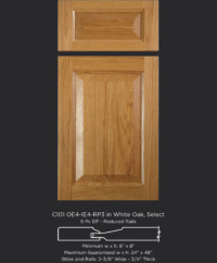 Cope and Stick Cabinet Door C101 OE4-IE4-RP3 White Oak, Select and 5-piece drawer front with reduced rails