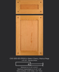 Cope and Stick Cabinet Door C201 OE5-IE5-FP3/8 in Cherry, Select with walnut pegs and 5 piece drawer front
