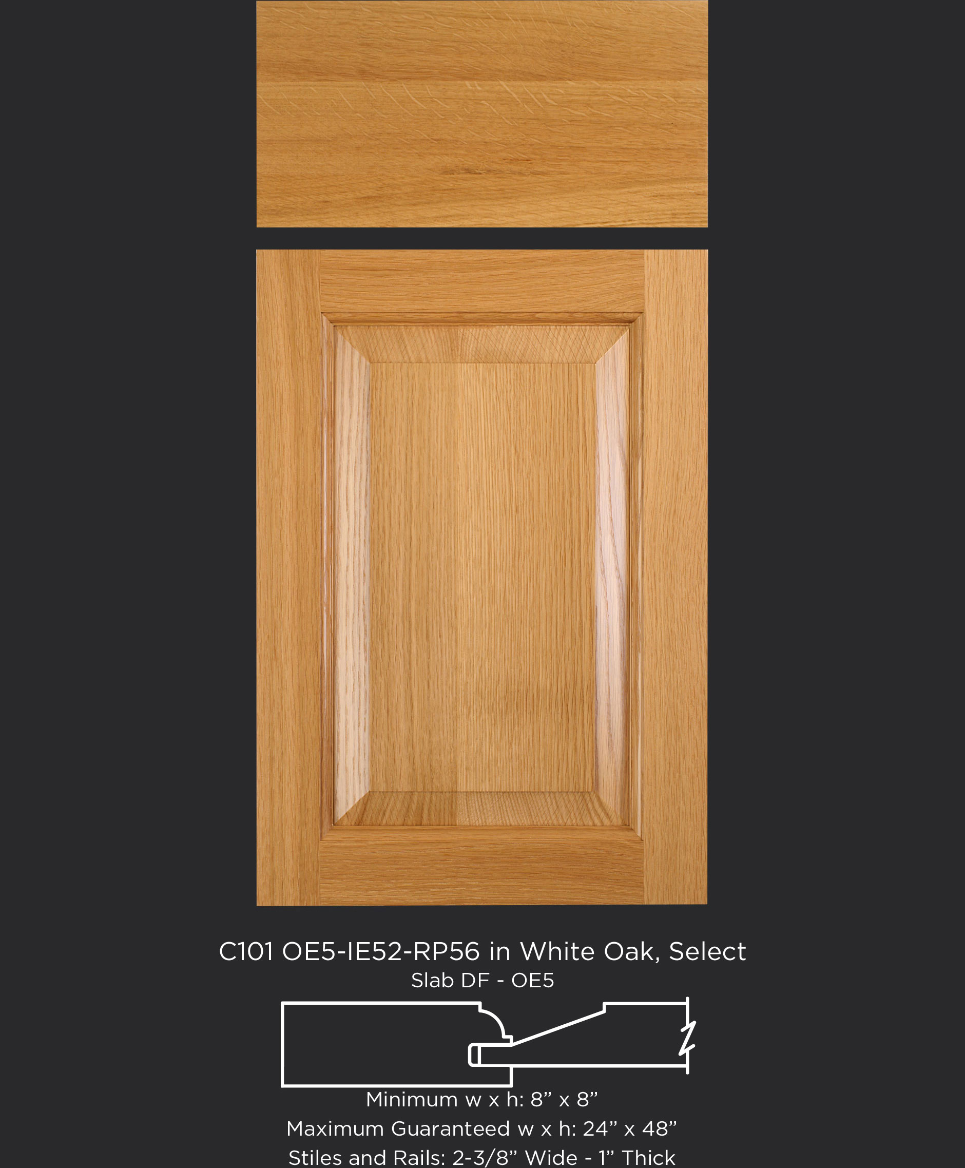 "1"" Thick Cope and Stick Cabinet Door C101 OE5-IE52-RP56 in White Oak, Select with slab drawer front"