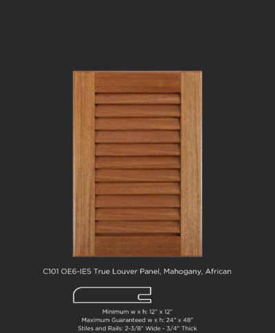 C101 cope and stick cabinet door with OE6 IE5 and True Louver Panel in Mahogany, African