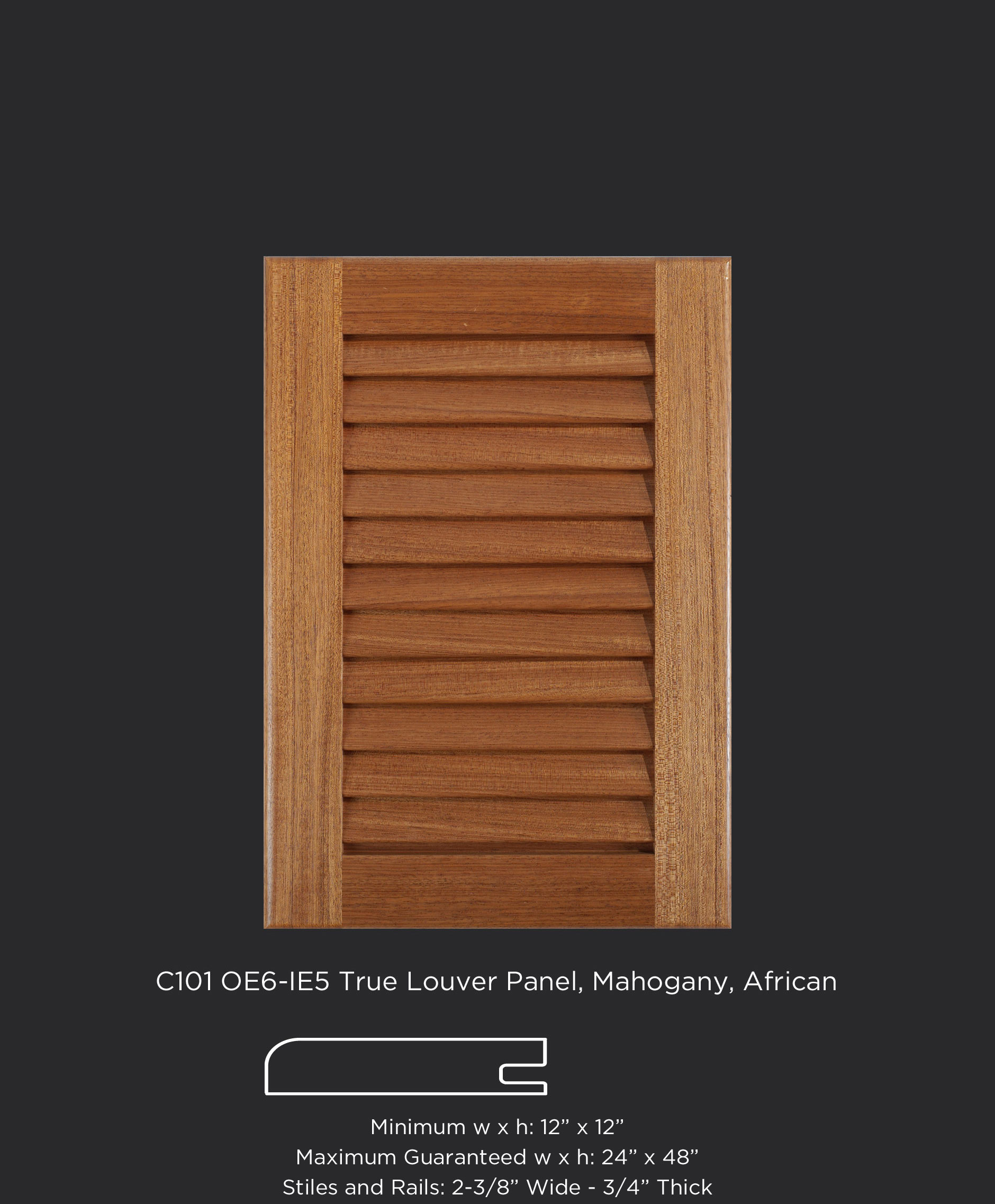 View Larger Image C101 Cope And Stick Cabinet Door With OE6 IE5 And True  Louver Panel In Mahogany,
