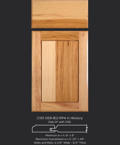 Cope and Stick Cabinet Door C101 OE8-IE2-RP4 Hickory, Natural and slab drawer front with OE8