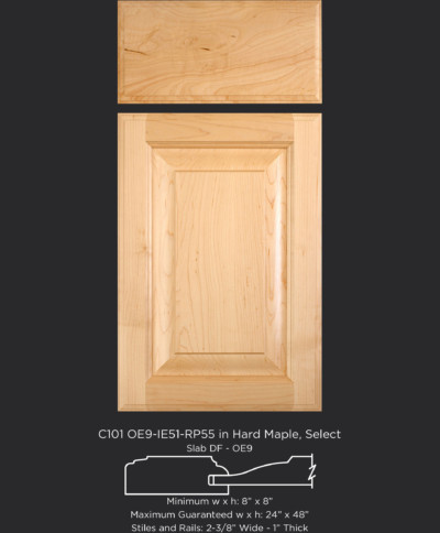 """1"""" Thick Cope and Stick Cabinet Door C101 OE9-IE51-RP55 in Hard Maple, Select and Slab Drawer Front with OE9"""