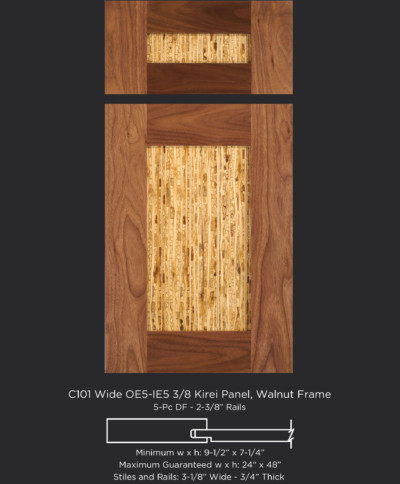 Cope and Stick Cabinet Door C101 Wide OE5-IE5 Walnut, Select Frame with Kirei Panel and 5-piece drawer front