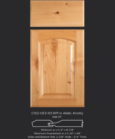 Cope and Stick Cabinet Door C102 OE3-IE1-RP1 in Alder, Knotty and slab drawer front with OE3