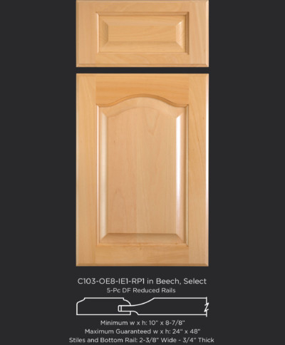 Cope and Stick Cabinet Door C103-OE8-IE1-RP1 in Beech, Select with 5 piece drawer front