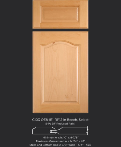 Cope and Stick Cabinet Door C103 OE8-IE1-RP12 in Beech, Select with 5 piece drawer front