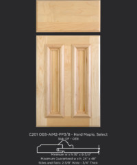 Cope and Stick Cabinet Door C201 OE8-AIM2-FP3/8 in Hard Maple, Select - Slab drawer front with OE8
