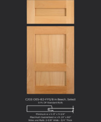 Cope and Stick Cabinet Door C203 OE5-IE5-FP3/8 in Beech, Select and 5 piece drawer front