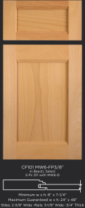 Combination Frame Cabinet Door CF101 MW6-FP3/8 in Beech, Select and 5-piece drawer front with MW6-D