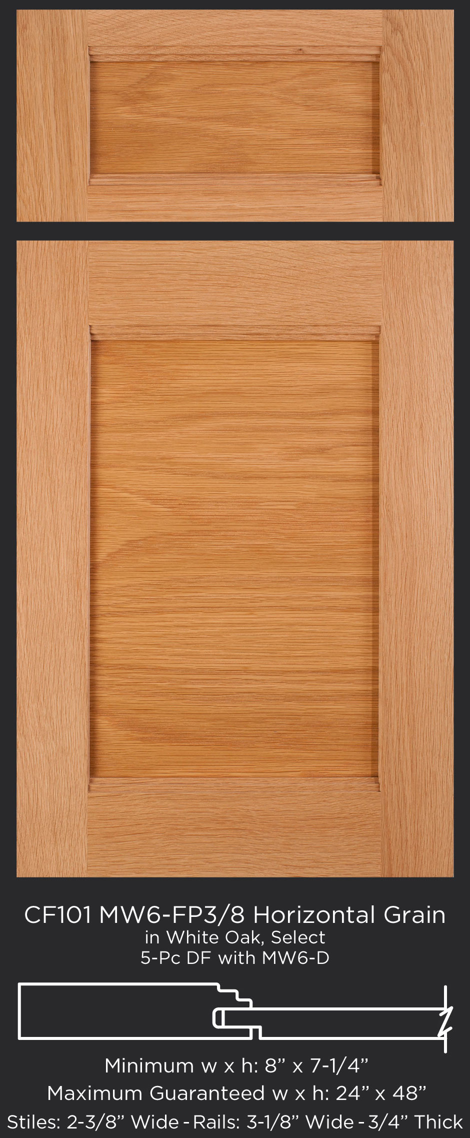 Cf101 mw6 fp38 white oak horizontal grain mw6 d profile for 6 horizontal panel doors
