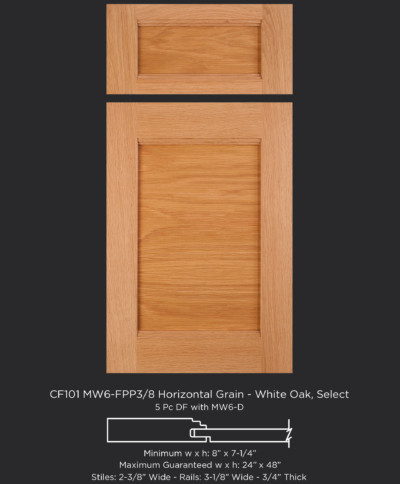 Combination Frame Cabinet Door CF101 MW6-FP3/8 with horizontal panel grain in White Oak, Select and 5-piece drawer front with MW6-D
