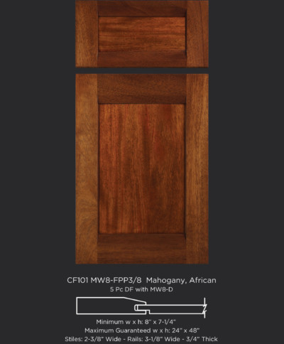 Combination Frame Cabinet Door CF101 MW8 FP3/8 In Mahogany, African And 5