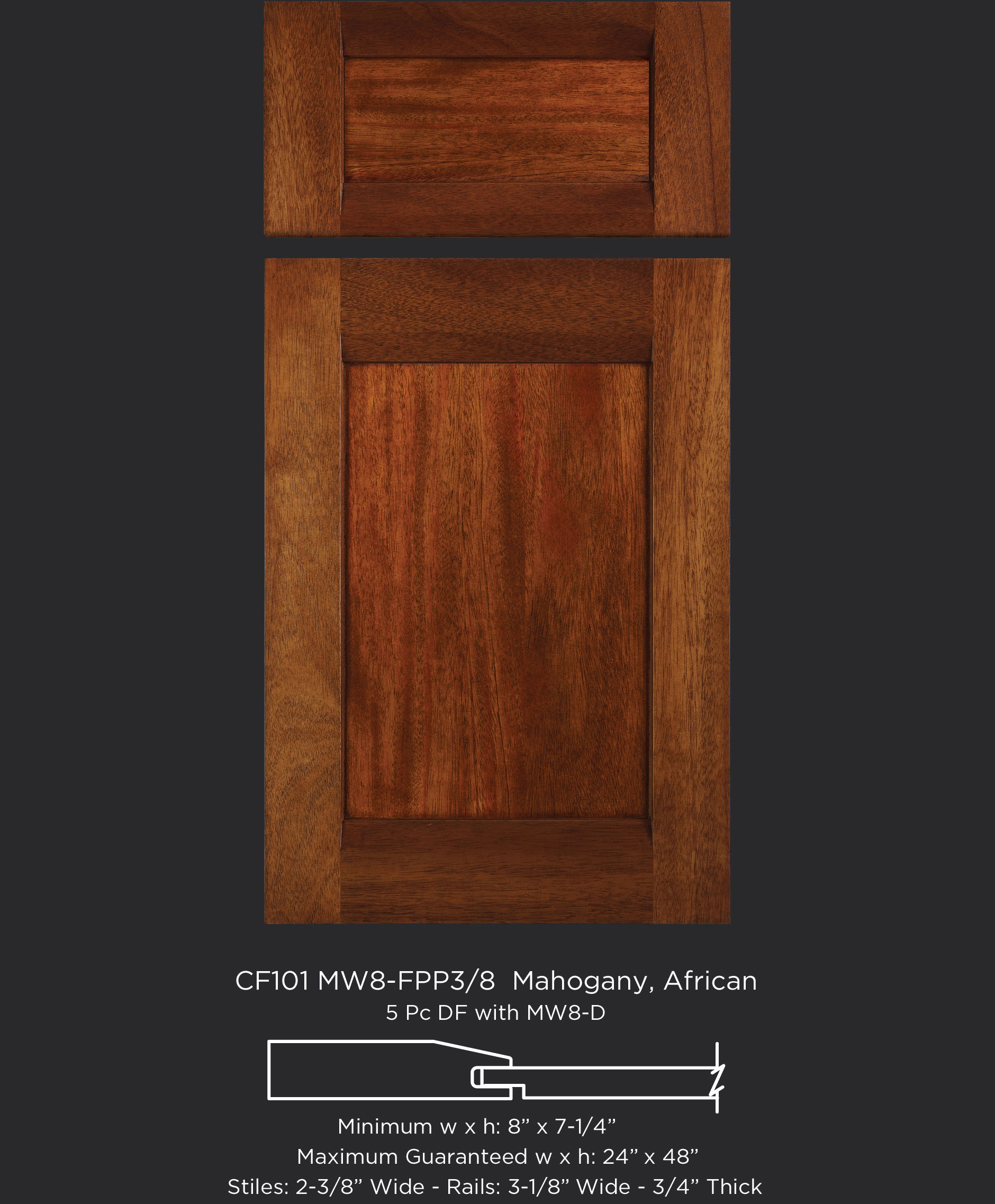 Combination Frame Cabinet Door CF101 MW8-FP3/8 in Mahogany, African and 5-piece drawer front with MW8-D