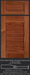 Combination Frame Cabinet Door CF101 MW9-FP3/8 with horizontal panel grain in Walnut, Select and 5-piece drawer front with MW9-D