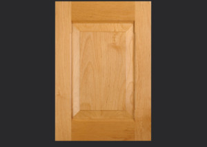 Combination Frame Cabinet Door CF101 OE5-IE3 Rails-Chamfered Stiles-RP3 in Alder, Select and slab drawer front with OE5