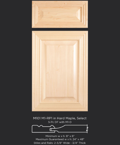 M101mitered door with M1 and RP1 in Hard Maple, Select and 5 pc drawer front with M1-D