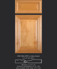 Mitered Cabinet Door M101 M24-RP11 in Alder, Select and 5-piece drawer front with M24-D