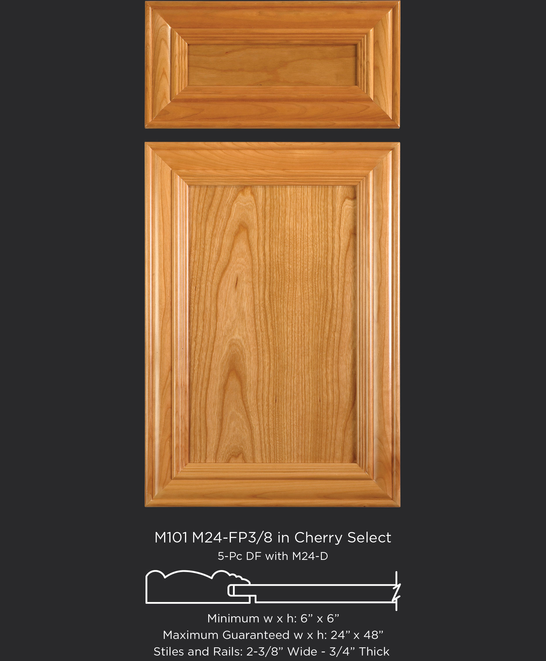Mitered Cabinet Door M101 M24-FP3/8 in Cherry, Select and standard 5-piece drawer front
