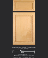 Mitered cabinet door with rope molding M101 M3-R-FP3/8 in Hard Maple, Select and 5-piece drawer front with M3-D-R