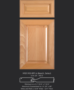 Mitered Cabinet Door M101 M3-RP1 in Beech, Select and standard 5-piece drawer front with M3-D