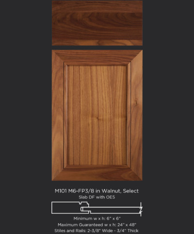 Mitered Cabinet Door M101 M6-FP3/8 in Walnut, Select and Slab drawer front with OE5