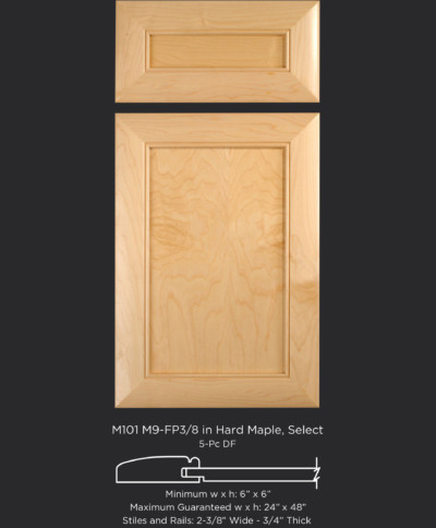 Mitered Cabinet Door M101 M9-FP3/8 in Hard Maple, Select and standard 5-piece drawer front